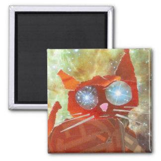 Fire Cat Square Magnet