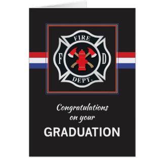 Fire Department Academy Graduation Emblem on Black Card
