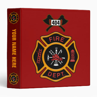 Fire Department Badge 3 Ring Binders