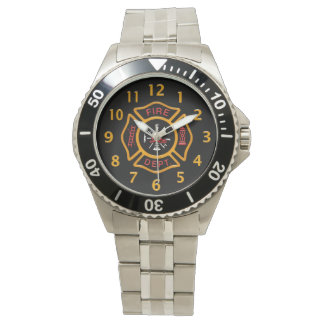 Fire Department Badge Black Wrist Watches