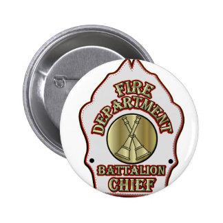 Fire Department Battalion Chief Shield Design 2 Inch Round Button
