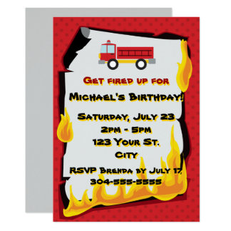 """Fire Department Birthday Party 5"""" X 7"""" Invitation Card"""