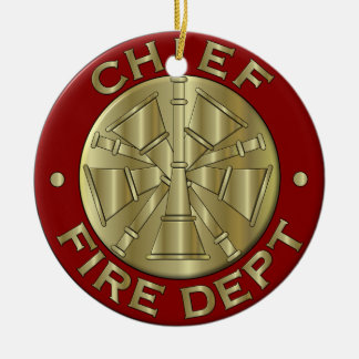 Fire Department Chief Brass Symbol Ceramic Ornament