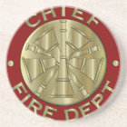 Fire Department Chief Brass Symbol Coaster