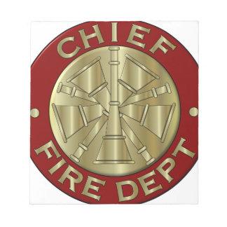 Fire Department Chief Brass Symbol Notepads
