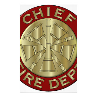 Fire Department Chief Brass Symbol Stationery Paper
