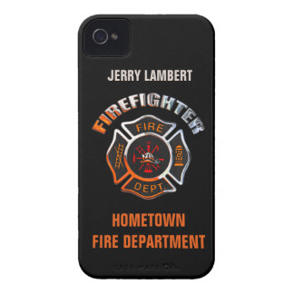 Fire Department Chrome Name Template iPhone 4 Case