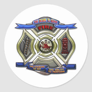 Fire Department Crest Classic Round Sticker