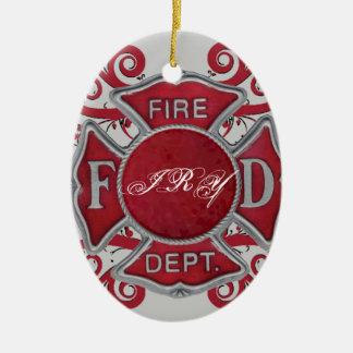 Fire Department Custom Monogram Ceramic Ornament