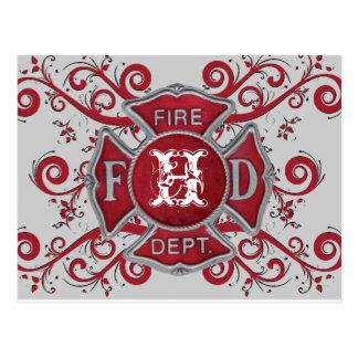 Fire Department Custom Monogram Postcard