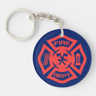 Fire Department Double-Sided Round Acrylic Keychain