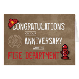 Fire Department Employee Anniversary Grunge Text Card