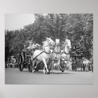 Fire Department Horses, 1925. Vintage Photo Poster