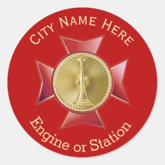 Fire Department Lieutenant Gold Medallion Classic Round Sticker