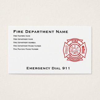 Fire Department Maltese Cross Business Card