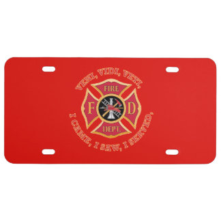 Fire Department Maltese Cross Custom VVV  Shield License Plate