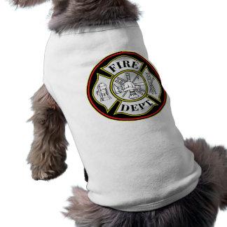 Fire Department Round Badge Pet Tee Shirt