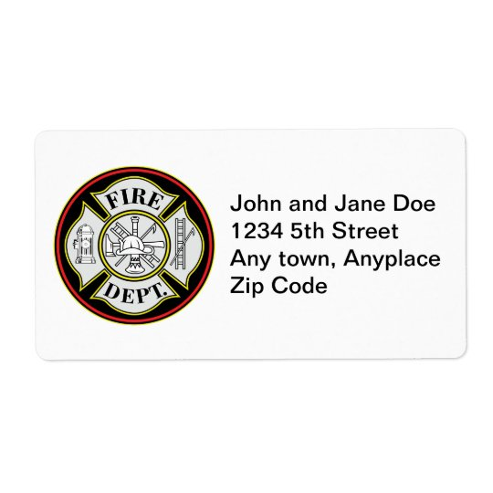 Fire Department Round Badge Shipping Label
