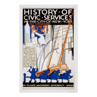 Fire Department Truck NYC 1936 WPA Poster