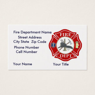 Fire Dept Bussiness Cards with Red Maltese Cross