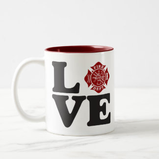 "Fire Dept ""LOVE"" Two Tone Coffee Mug"