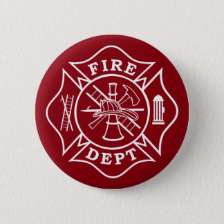 Fire Dept Maltese Cross, 2¼In. Round Button
