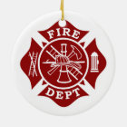 Fire Dept Maltese Cross Circle Ornament