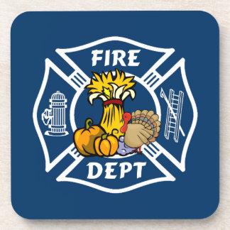 Fire Dept Thanksgiving Logo Drink Coaster
