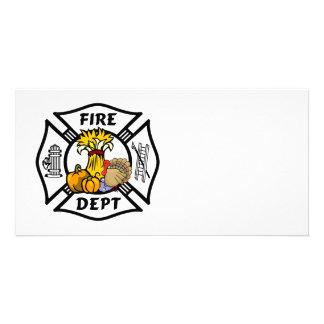 Fire Dept Thanksgiving Logo Custom Photo Card