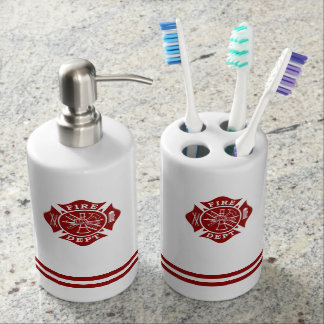 Fire Dept Toothbrush Holder & Soap Dispenser Set