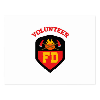 FIRE DEPT VOLUNTEER POSTCARD