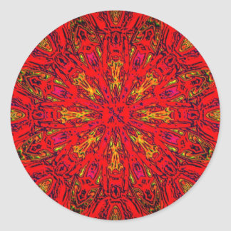 FIRE Element Kaleido Pattern Classic Round Sticker