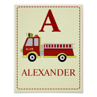 FIRE ENGINE Baby boy's room nursery Art Print
