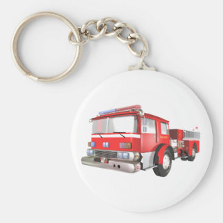 Fire Engine Basic Round Button Keychain