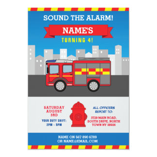 Fire Engine Birthday Party Department Invite
