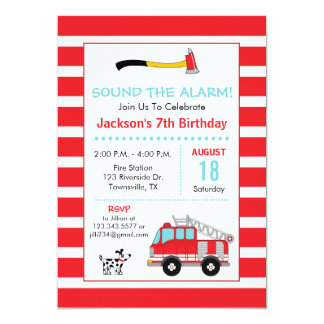 Fire Engine Fire Fighter Birthday Party Invitation