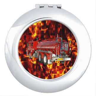 Fire Engine Polygon Graphic On Fire Mosaic, Compact Mirror