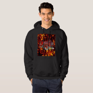 Fire Engine Polygon Graphic On Fire Mosaic, Hoodie