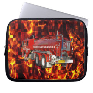 Fire Engine Polygon Graphic On Fire Mosaic, Laptop Sleeve