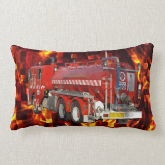 Fire Engine Polygon Graphic On Fire Mosaic, Lumbar Pillow
