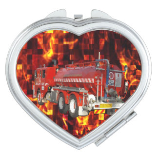 Fire Engine Polygon Graphic On Fire Mosaic, Makeup Mirror