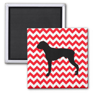 Fire Engine Red Chevron With Boxer Silhouette Square Magnet