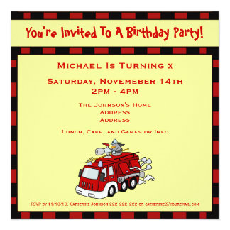 Fire Engine Truck  and Fireman Kids Birthday Party Card
