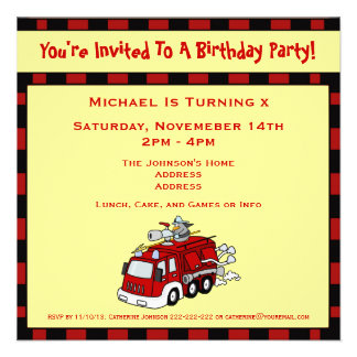Fire Engine Truck and Fireman Kids Birthday Party Announcements