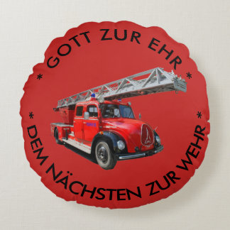 Fire engine with saying round pillow