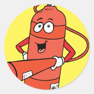 Fire Extinguisher Cartoon Round Sticker