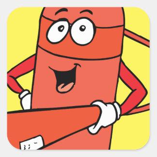 Fire Extinguisher Cartoon Square Sticker