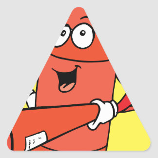 Fire Extinguisher Cartoon Triangle Sticker