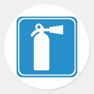 Fire Extinguisher Highway Sign Round Sticker