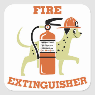 Fire Extinguisher Square Sticker
